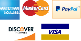 Proudly Accepting Visa, Mastercard, Discover, American Express, and PayPal