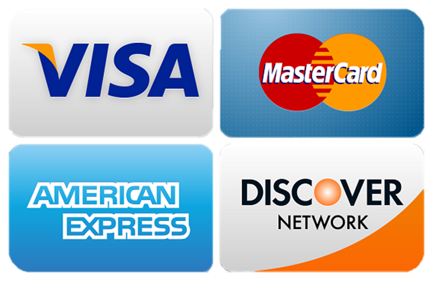 Proudly Accepting Visa, Mastercard, Discover, American Express